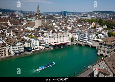 Above view of Zurich, Switzerland - Stock Image