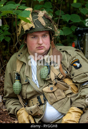 Woodhall Spa 1940s Festival - portrait of an American soldier from 82 Airborne Diviasion of World War 2 - Stock Image