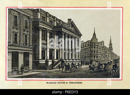 Mansion House, 1880 high quality steel engraving of the official residence of the Lord Mayor of London, built in the Palladian style in the 18th Century at the Bank junction of Cheapside, Poultry and Victoria Street - Stock Image