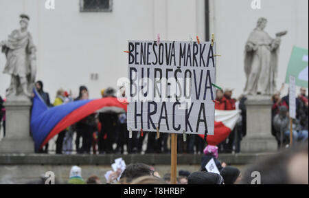 Brno, Czech Republic. 13th May, 2019. People attend third demonstration against PM Babis and new Justice Minister Benesova in the centre of Brno, Czech Republic, May 13, 2019. Credit: Igor Zehl/CTK Photo/Alamy Live News - Stock Image