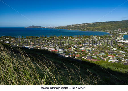 Diamond Head, Maunalua Bay and Hawaii Kai seen from Koko Head, Koko Head District Park, Hawaii Kai, Oahu, Hawaii, USA - Stock Image