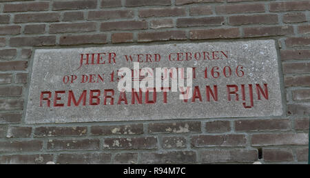 Stone plaque denoting Rembrandt Van Rijn's place of birth in the city of Leiden, South Holland, Netherlands - Stock Image