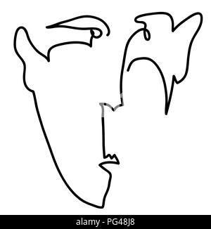 man of face.  simple line drawing of man of face. - Stock Image