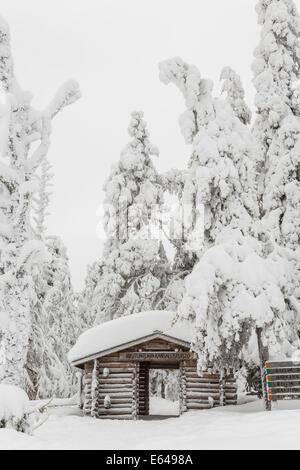Entrance to Riisitunturi National Park, winter, Lapland, Finland - Stock Image