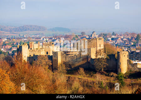 Ludlow Castle, Shropshire, UK. Photo taken from Whitcliffe common. - Stock Image