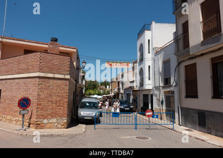 Entrance to the cherry festival at Salsadella Spain - Stock Image