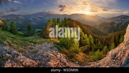 Low Tatra mountain summer landscape. meadow with huge stones among the grass. - Stock Image