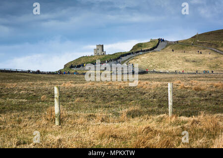 O'Brien's Tower at the Visitor Centre at Cliffs of Moher along the Wild Atlantic Way in County Clare in Ireland - Stock Image
