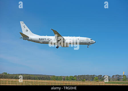 Posidon P8A aircraft on approach to RAF Lossiemouth airfield on the Moray cosast in North East Scotland. - Stock Image