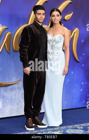 London, UK. 09th May, 2019. LONDON, UK. May 09, 2019: Mena Massoud & Naomi Scott at the 'Aladdin' premiere at the Odeon Luxe, Leicester Square, London. Picture: Steve Vas/Featureflash Credit: Paul Smith/Alamy Live News - Stock Image
