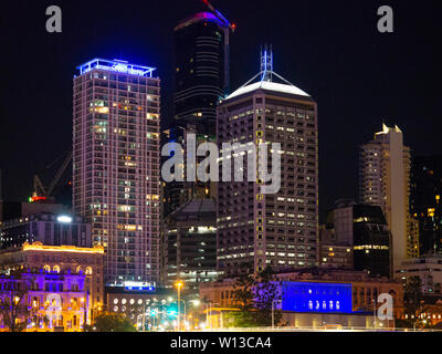Brisbane City At Night - Stock Image