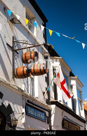UK, England, Yorkshire, Filey, Murray Street, Three Tuns Inn public house sign and English flag - Stock Image