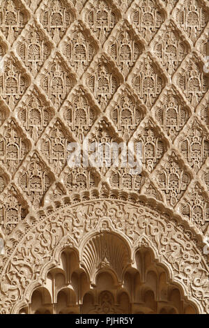 Details. Stucco wall. Medersa Ben Youssef Koranic school, founded by the Merinid Sultan Abu al-Hassan. 1570. Marrakech. Morocco. - Stock Image