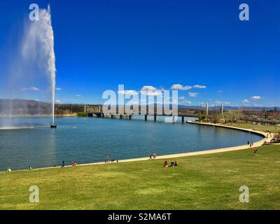 Lake Burley Griffin in Canberra Australia - Stock Image