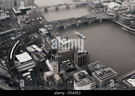 Southwark Cathedral and the River Thames - Stock Image