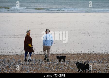 Hastings, East Sussex, UK. 12 Apr, 2019. UK Weather: Bright with sunny intervals in the seaside town of Hastings in East Sussex. A trendy couple walking along the beach with dogs. © Paul Lawrenson 2019, Photo Credit: Paul Lawrenson/Alamy Live News - Stock Image