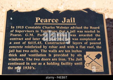 USA, Arizona, Cochise County. Plaque in abandoned town of Pearce. Credit as: Wendy Kaveney / Jaynes Gallery / DanitaDelimont.com - Stock Image