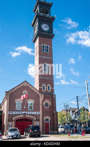 No 8 Fire Station House at College and Bellevue in Kensington Market in downtown Toronto Ontario Canada - Stock Image