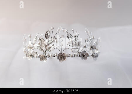 hair decoration crown wedding on the table - Stock Image