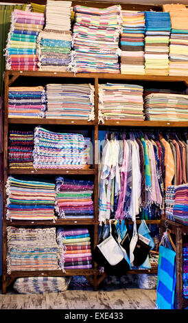 Inside of a store selling textiles and clothing in Turkey - Stock Image