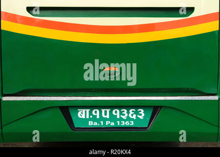 Nepalese license plate on a bus. - Stock Image