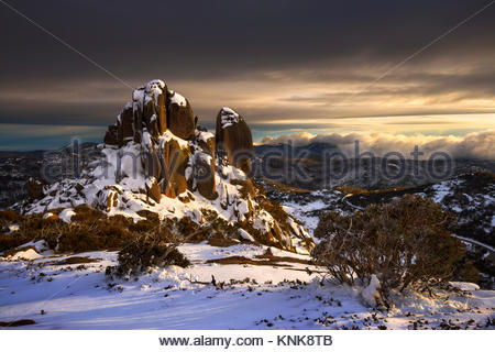 The Cathedral on a Stormy Morning, Mount Buffalo National Park, Victoria, Australia - Stock Image