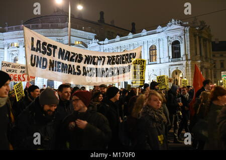 Vienna, Austria. 26th Jan, 2018. Demonstrations against the so-called Academics' Ball, hosted by Austria's far - Stock Image