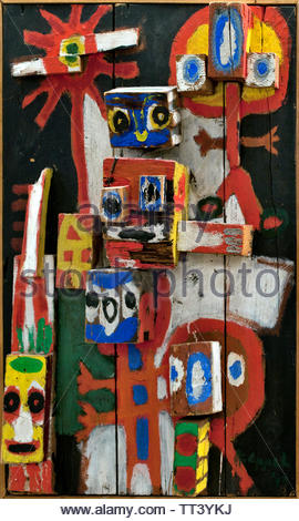 Asking Childs - Vragende Kinderen by Karel Appel born in 1921 Dutch painter, (sculptor,  poet, Avant-garde movement Cobra), The, Netherlands. - Stock Image
