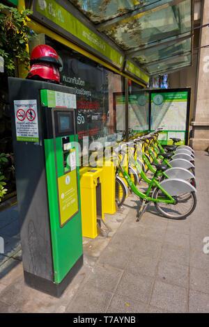 City bike rental scheme bikes, Bangkok, Thailand - Stock Image