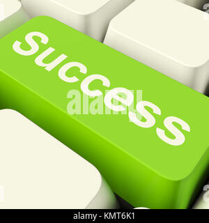 Success Computer Key In Green Showing Achievement And Determinations - Stock Image