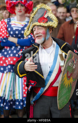 Wantage, UK. 26 Dec 2016. The character of Beau Slasher, a Napoleonic officer, played in a traditional Mummers Folk - Stock Image
