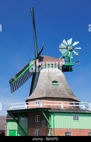 Windmühle 'Gott mit uns', Eddelak, Zwickstellholländer mit Windrose, Dithmarschen, Schleswig Holstein, Deutschland - Stock Image