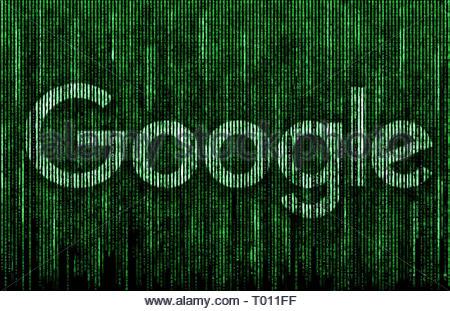 Google logo matrix - Stock Image