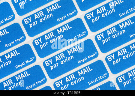 Royal Mail Air Mail Stickers, United Kingdom - Stock Image