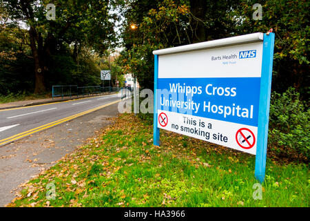 Sign at the entrance to Whipps Cross University Hospital, Waltham Forest, London. Part of Barts Health NHS Trust - Stock Image
