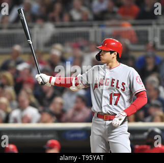 Los Angeles Angels designated hitter Shohei Ohtani at bat in the eighth inning during the Major League Baseball game against the Minnesota Twins at Target Field in Minneapolis, Minnesota, United States, May 14, 2019. Credit: AFLO/Alamy Live News - Stock Image