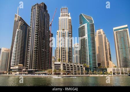 Dubai, United Arab Emirates - September 8, 2018: Residential buildings in Dubai Marina, Dubai, United Arab Emirates. - Stock Image
