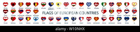 Collection of vector flags of Europe in the form of hearts - Stock Image