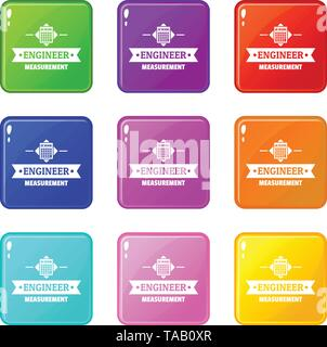 Calculator icons set 9 color collection - Stock Image