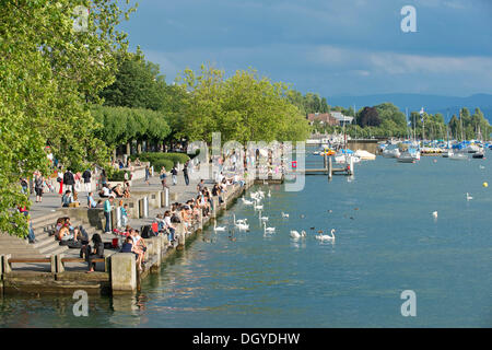 Lake Zurich, Utoquai quay, Zurich, Switzerland, Europe - Stock Image