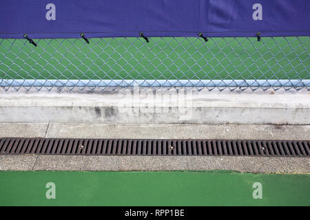 Chain Link Fence on Tennis Courts - Stock Image