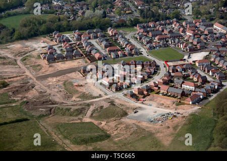 aerial view of new homes being built on the edge of Northwich town, Cheshire, UK - Stock Image