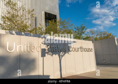 Federal Courthouse Salt Lake City. Entrance detail of the U.S. Courthouse for the District of Utah. - Stock Image
