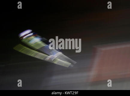 Bischofshofen, Austria. 05th, Jan 2018.  Skier in flight during the trial round of the 66th Four Hills Ski jumping - Stock Image
