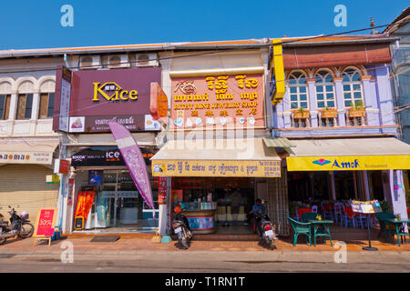 House facades, Street 09, old town, Siem Reap, Cambodia, Asia - Stock Image