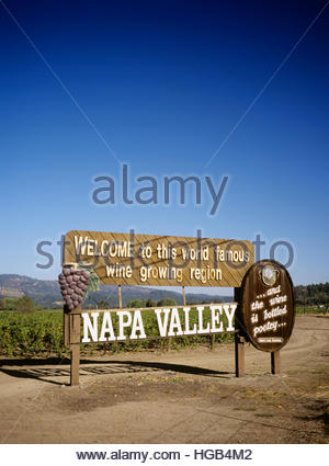 Napa Valley welcome sign with the famous Robert Louis Stevenson quote '... and the wine is bottled poetry...' - Stock Image