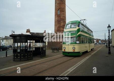 Blackpool Balloon Tramcar No.717 at Fleetwood -1 - Stock Image