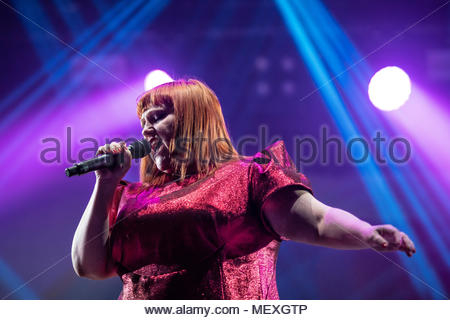 Beth Ditto performing live at the first edition of MUSILAC Mont-Blanc music festival in Chamonix (France) - 21 April 2018 - Stock Image