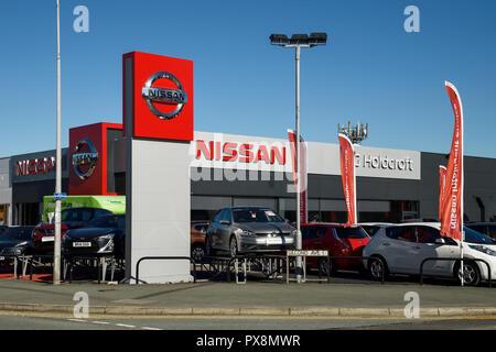 The Nissan car dealership in Crewe UK - Stock Image