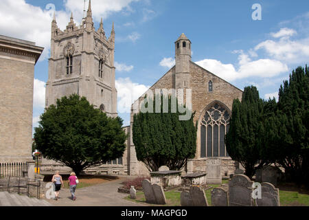 St Peters church from Museum Square, Wisbech, Cambridgeshire, England - Stock Image